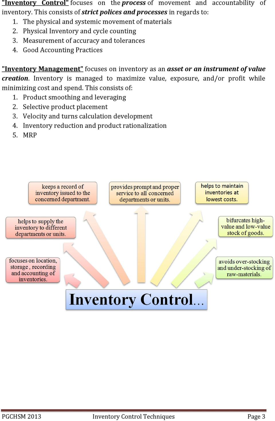 Techniques of Inventory Control Indian Association of