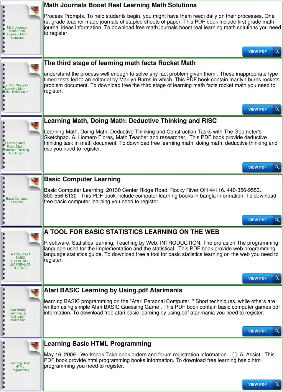 Learning Basic Math Download or Read Online ebook learning basic