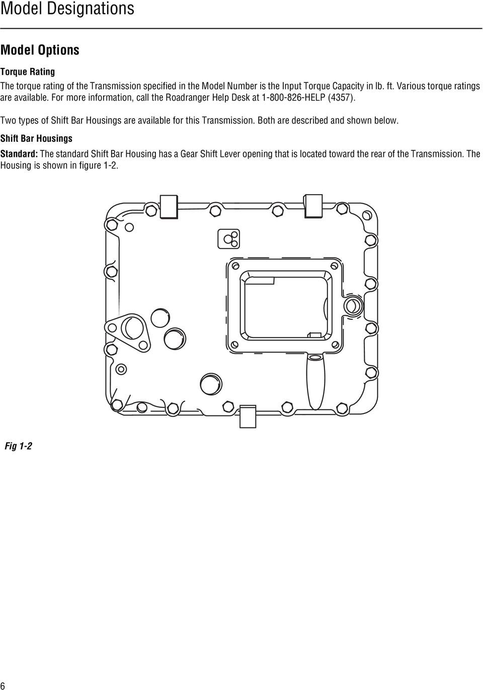 Two types of Shift Bar Housings are available for this Transmission. Both  are described and