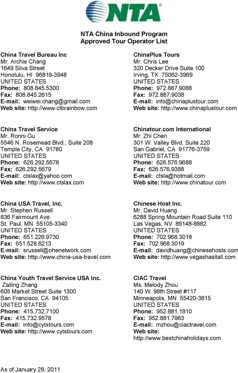 NTA China Inbound Program Approved Tour Operator List - PDF