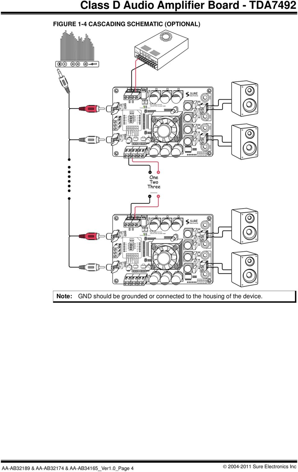Class D Audio Amplifier Board Tda7492 User S Guide Pdf 20w Hifi Power With Tda2040 Schematic Design Grounded Or Connected To The Housing Of Device