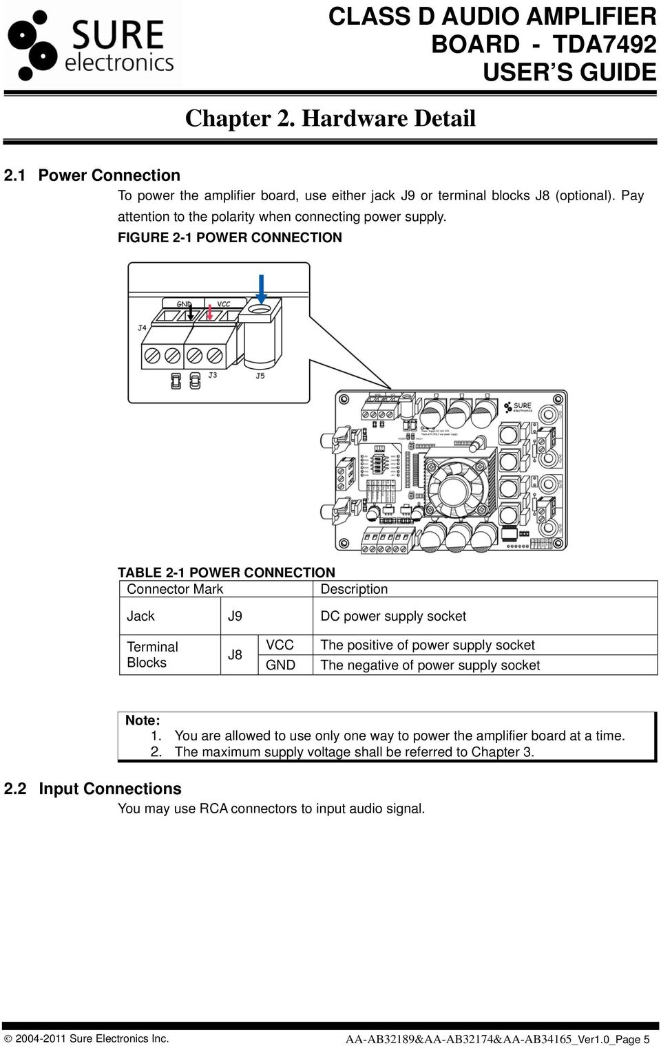 Class D Audio Amplifier Board Tda7492 User S Guide Pdf Wiring Diagram Car Mono Using Ic Tda2040 Real Auto Tips Figure 2 1 Power Connection Table Connector Mark Description Jack