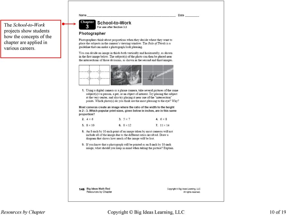 The Resources by Chapter book contains blackline masters of