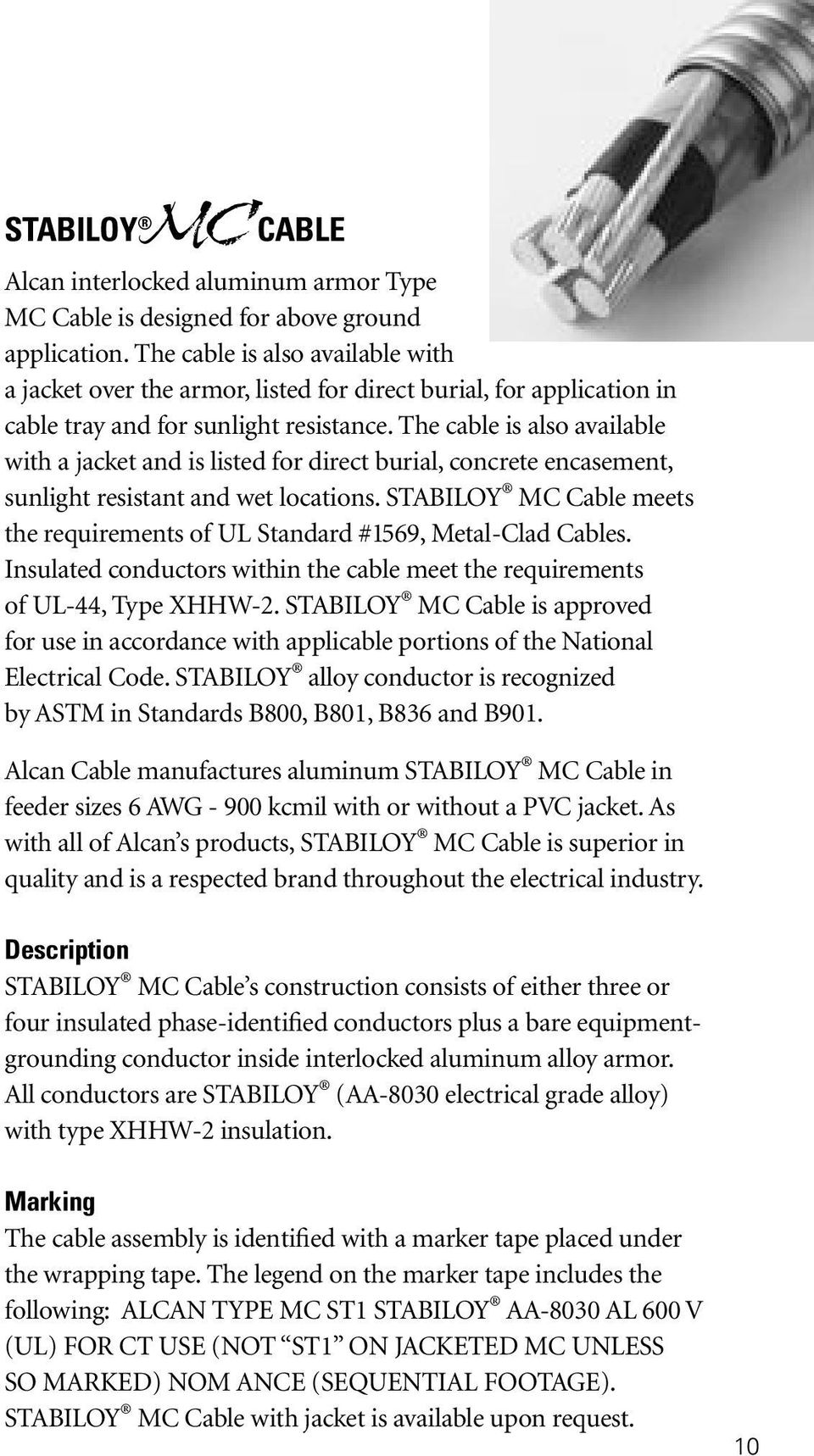 Alcan Cable Wireman S Guide Pdf Further Electrical Industrial Tray On Underground Wiring Sizes The Is Also Available With A Jacket And Listed For Direct Burial Concrete