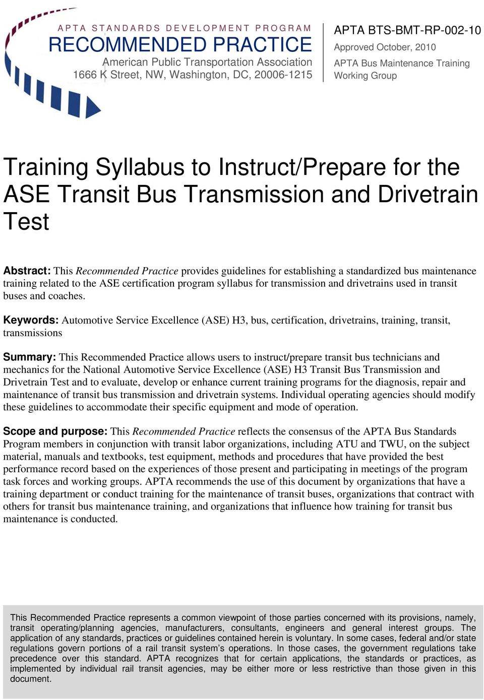 Training Syllabus To Instructprepare For The Ase Transit Bus