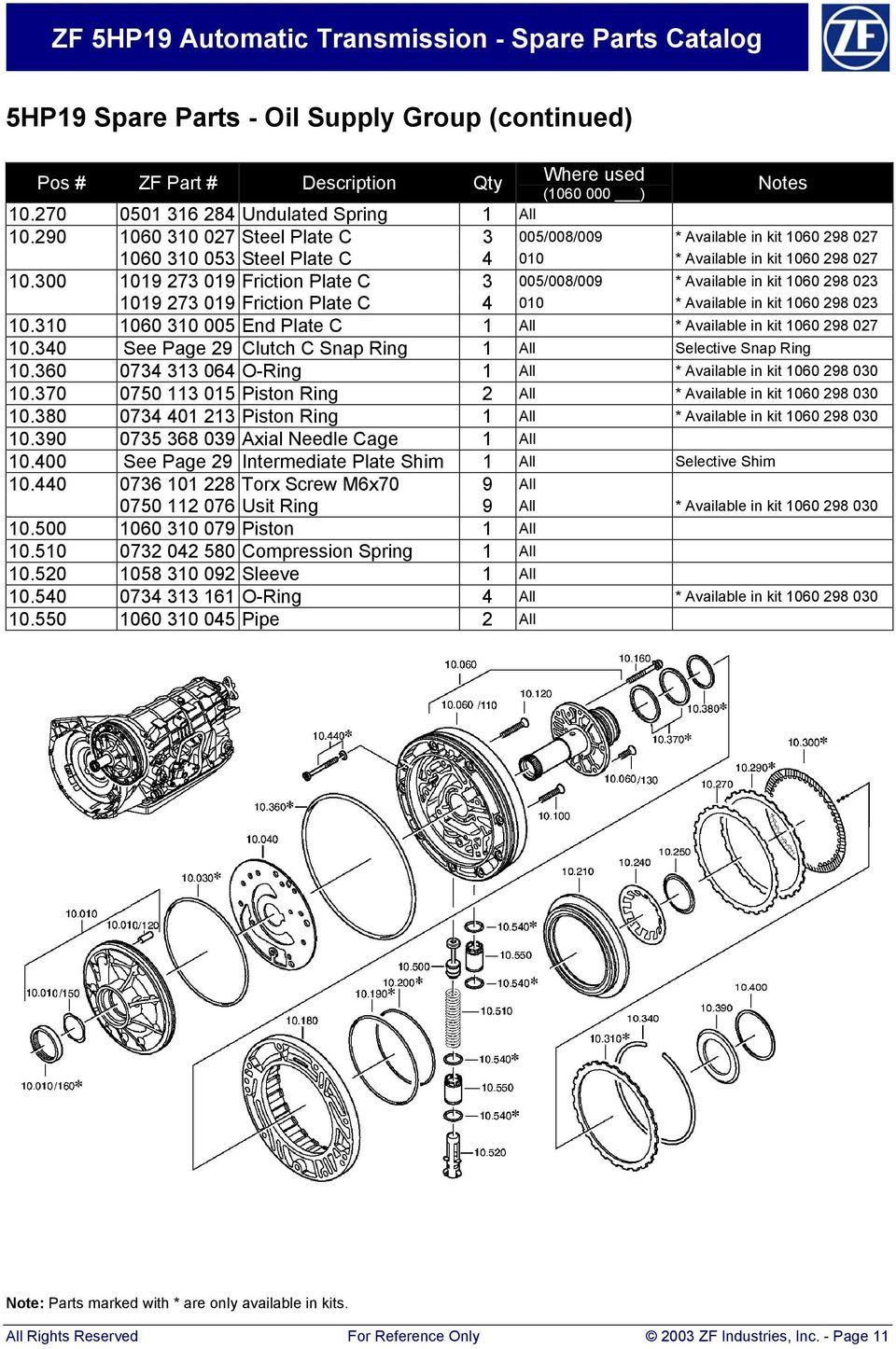 ZF 5HP19  Automatic Transmission Spare Parts Catalog - PDF
