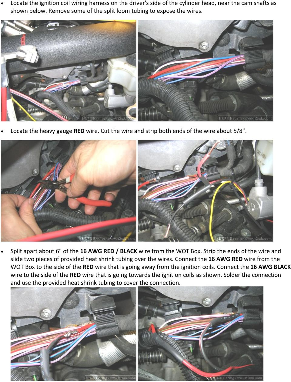 Wot Box Installation Instructions Vw Gti Mkv 20t Pdf Wiring Diagram For Nissan 350z Strip The Ends Of Wire And Slide Two Pieces Provided Heat Shrink Tubing Over