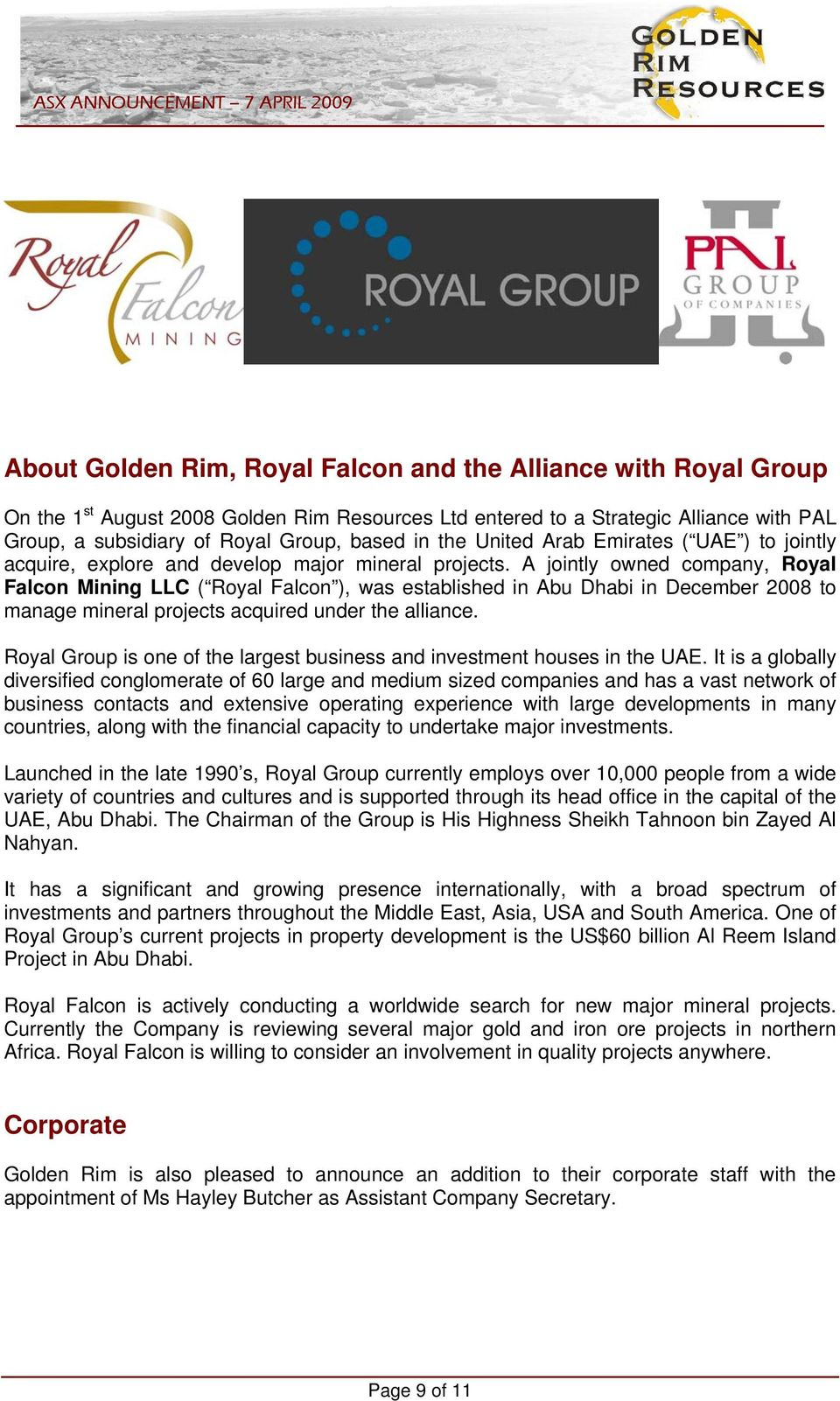 ROYAL FALCON SIGNS JOINT VENTURE ON LARGE GOLD COPPER