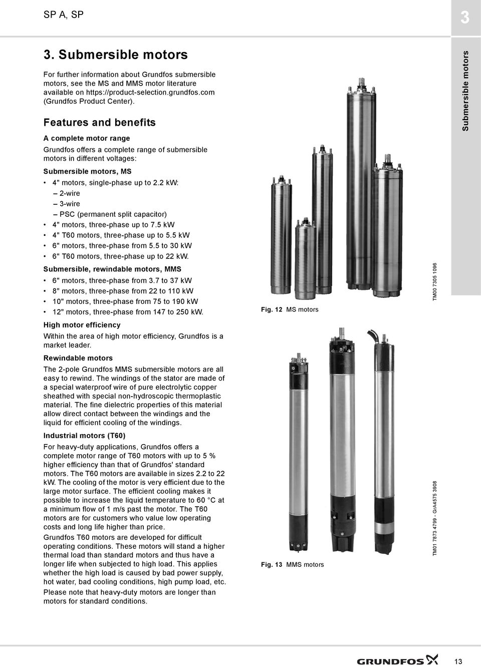 Grundfos Data Booklet Sp A Submersible Pumps Motors And Pompa Celup Kp 150a Features Benefits Complete Motor Range Offers Of