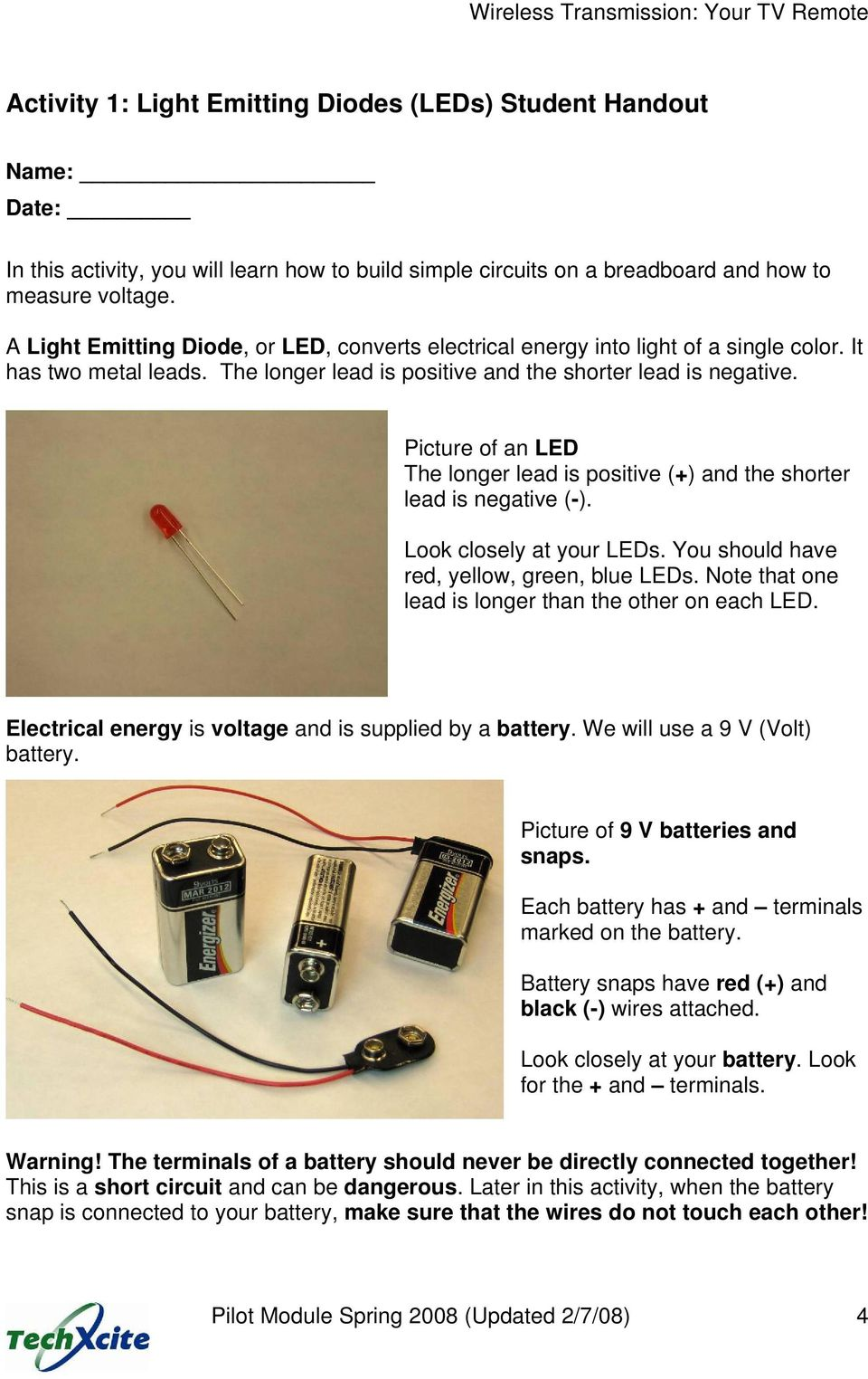 Activity 1 Light Emitting Diodes Leds Pdf Flasher Circuit Does Not Get Power Till There Is Enough On Ldr Picture Of An Led The Longer Lead Positive And Shorter