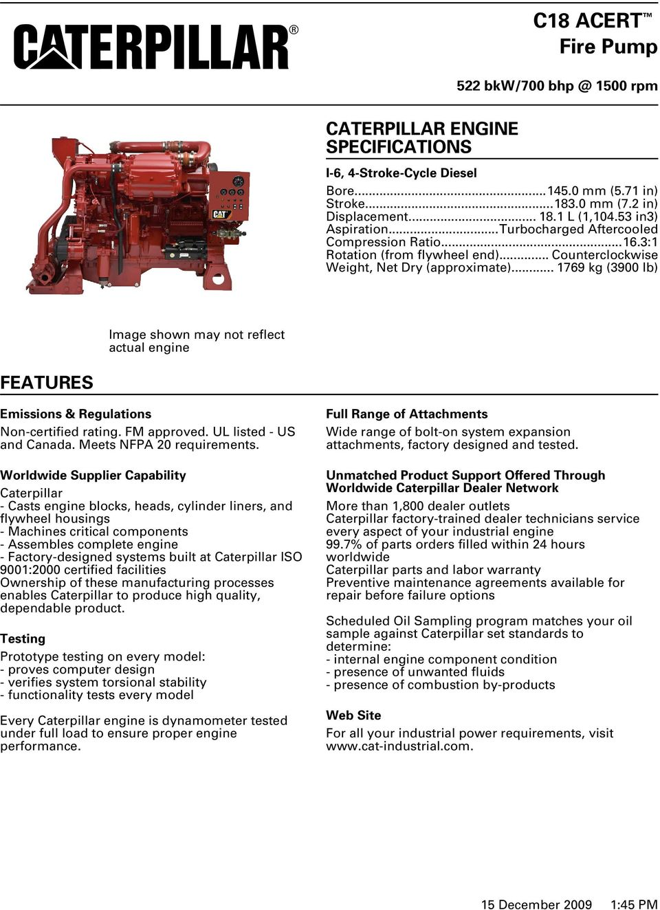C18 ACERT Fire Pump CATERPILLAR ENGINE SPECIFICATIONS