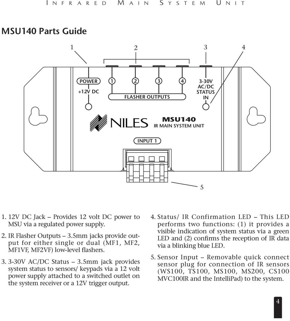 Installation Operation Guide Msu140 Infrared Main System Unit Pdf Headphones Ir Receiver Circuit 5mm Jack Provides Status To Sensors Keypads Via A 12 Volt Power Supply Attached