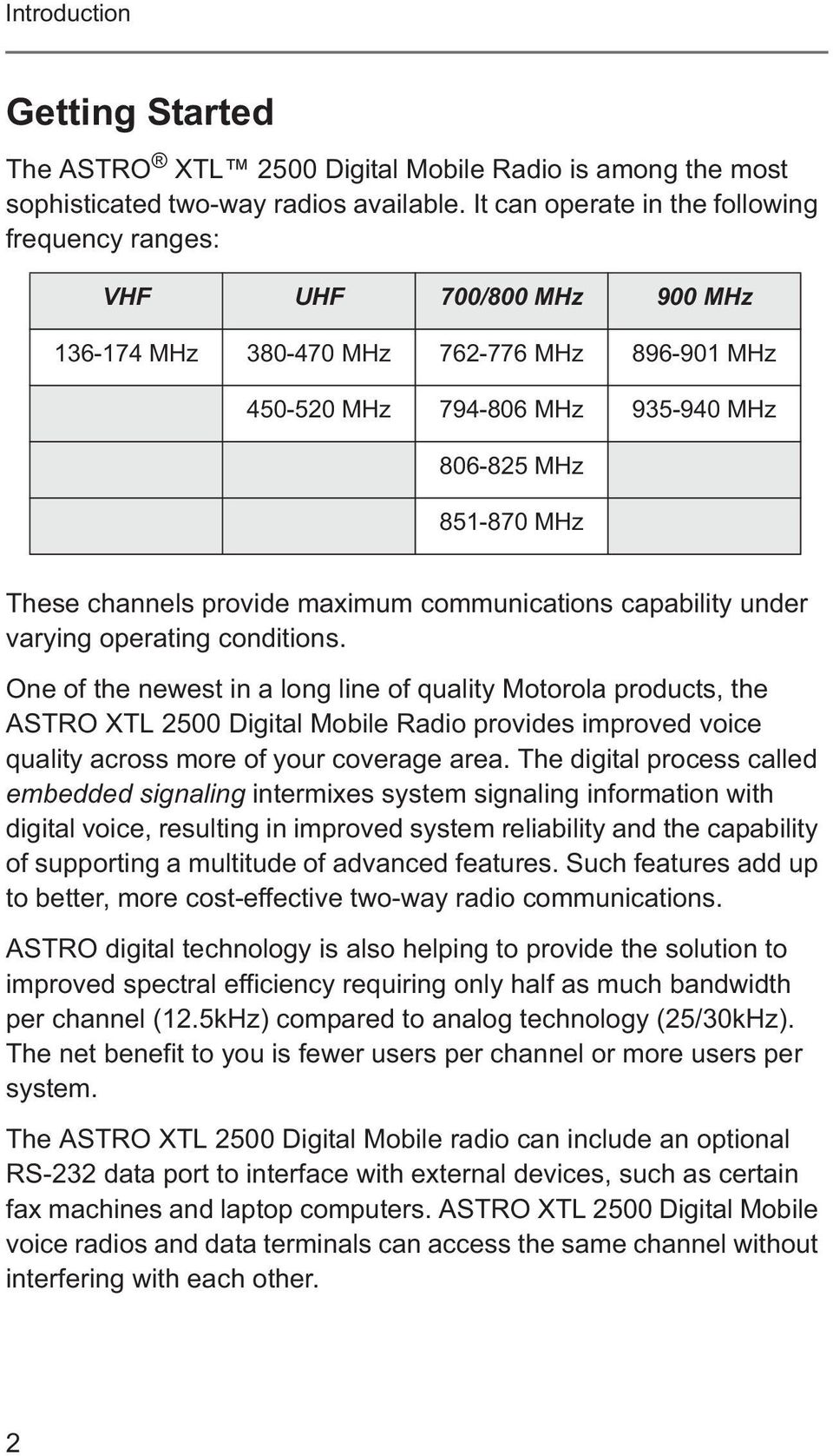channels provide maximum communications capability under varying operating  conditions.