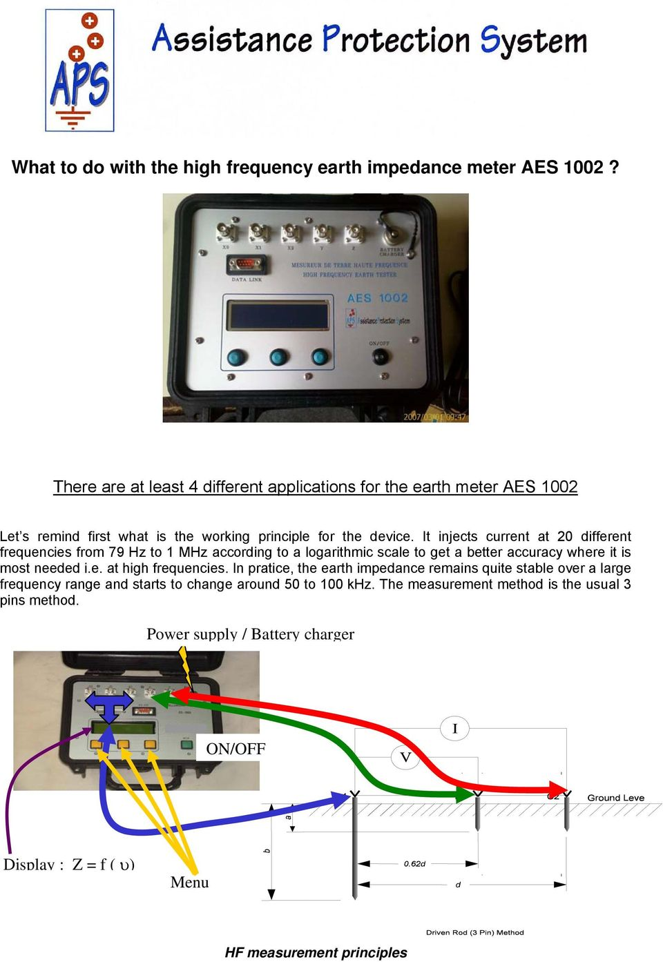 What To Do With The High Frequency Earth Impedance Meter Aes 1002 Pdf 1hz 1mhz Digital Display It Injects Current At 20 Different Frequencies From 79 Hz 1 Mhz According A