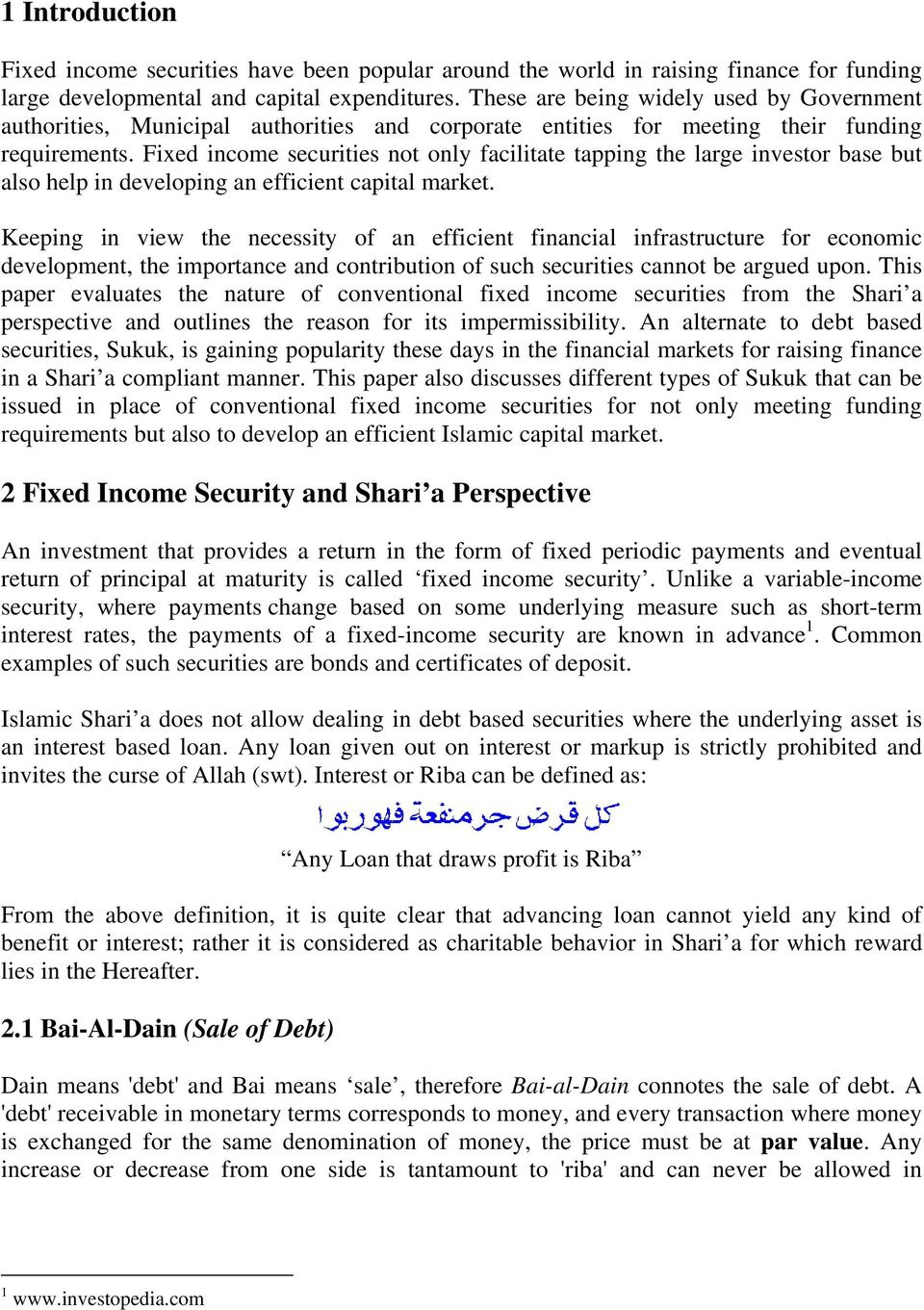Fixed Income Securities Shari A Perspective Pdf