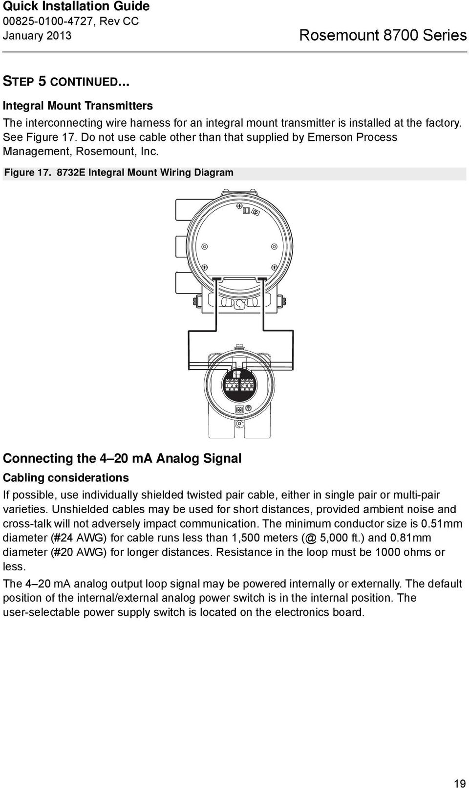 Rosemount 8700 Series Magnetic Flowmeter Sensors Pdf Twisted Pair Wiring Diagram 8732e Integral Mount Connecting The 4 20 Ma Analog Signal Cabling Considerations If Possible