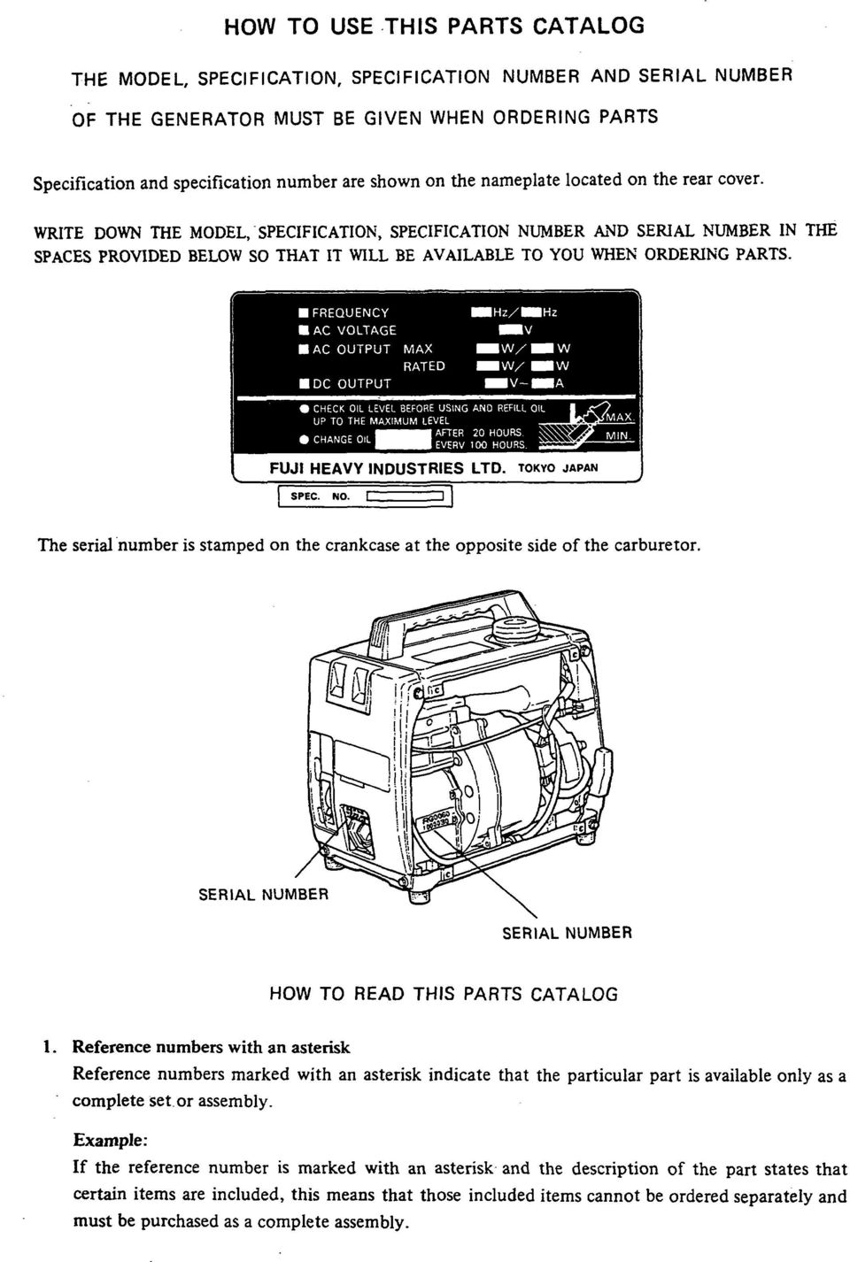Parts Manual Model R650 Generator Pdf Element Ac Compressor Assemblies Diagram Car Rear Cover Wrte Down The Specfcaton Number And Seral N
