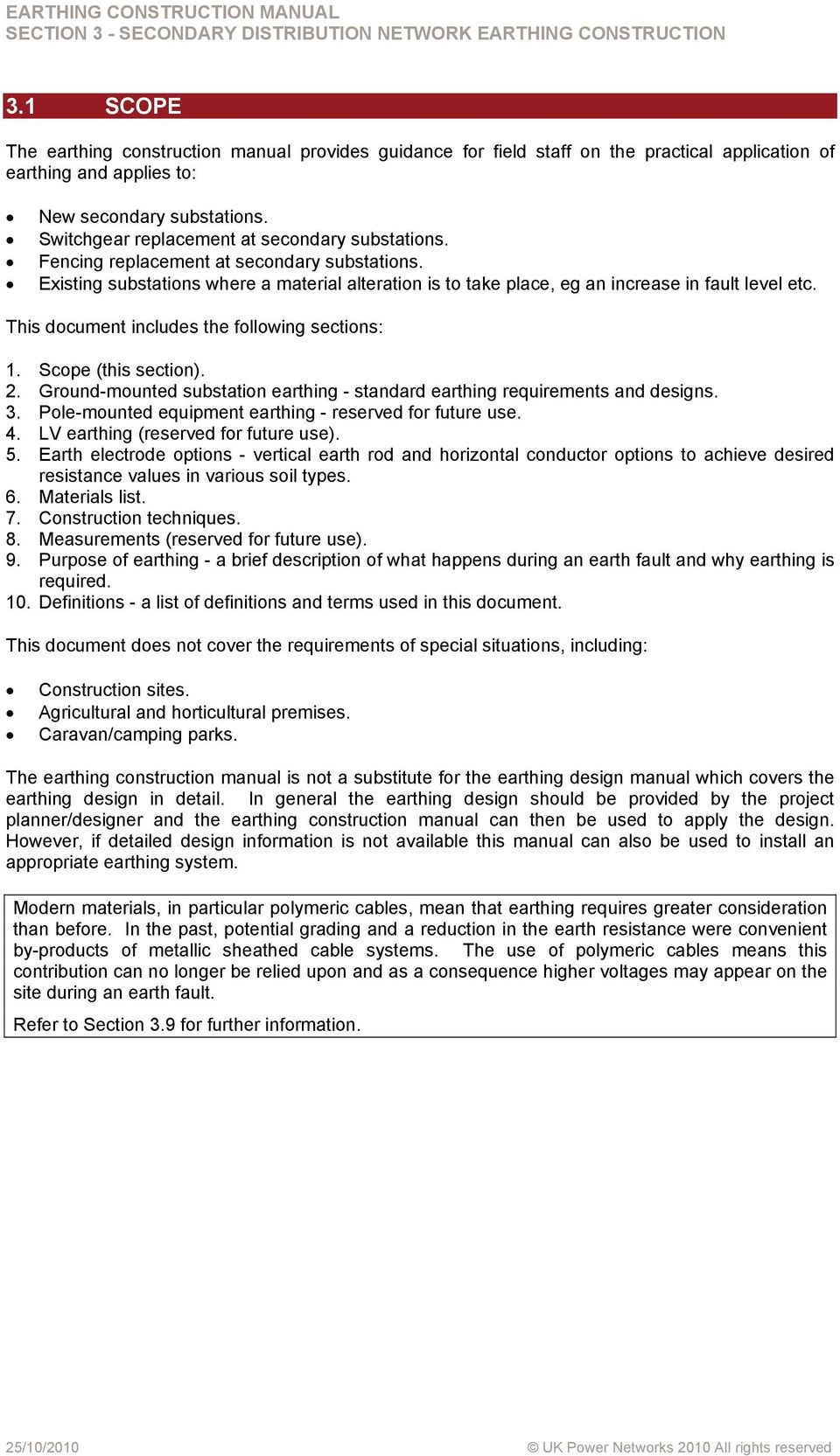 EARTHING CONSTRUCTION MANUAL SECTION 3 SECONDARY