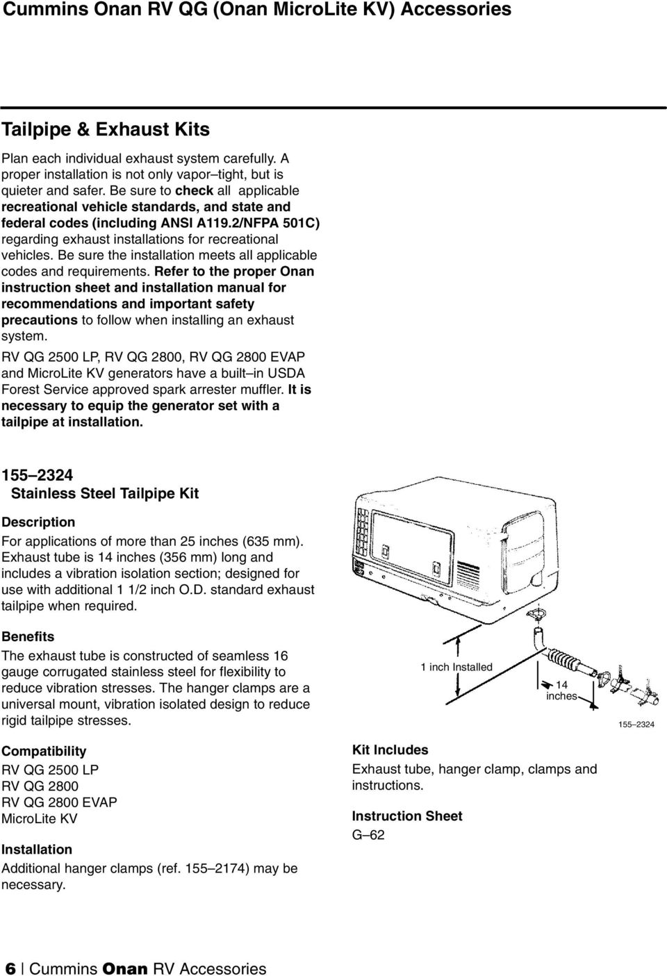 Be sure the installation meets all applicable codes and requirements. 11 Cummins  Onan RV QG ...