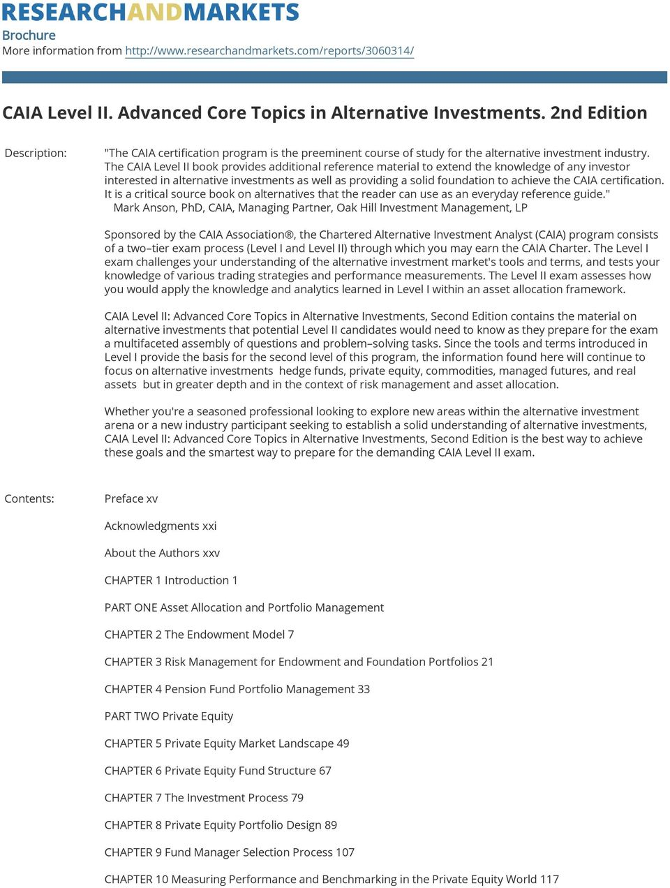 Caia Level Ii Advanced Core Topics In Alternative Investments 2nd