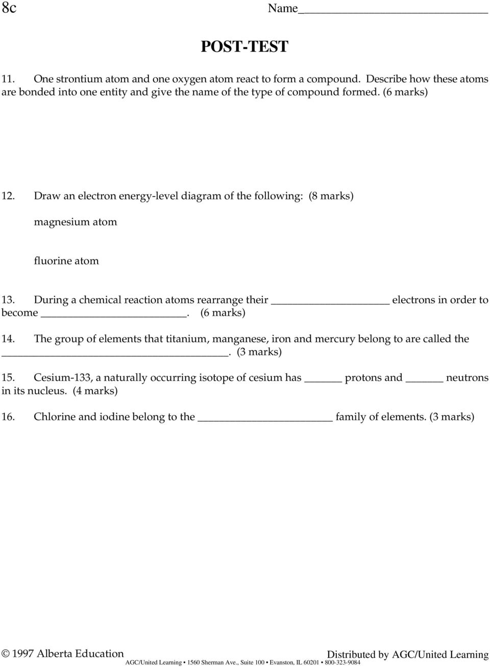 Name Pre Test Directions Circle The Letter Indicating Whether Oxygen Atom Model Atomic Diagram Draw An Electron Energylevel Of Following 8 Marks Magnesium Fluorine