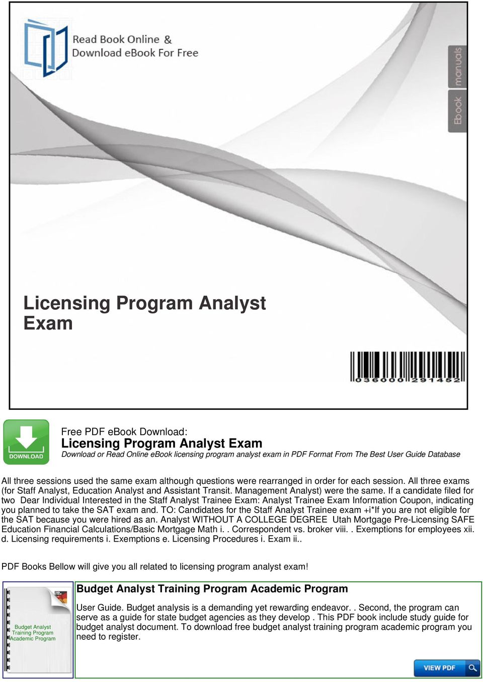 Licensing program analyst exam pdf management analyst were the same fandeluxe Images