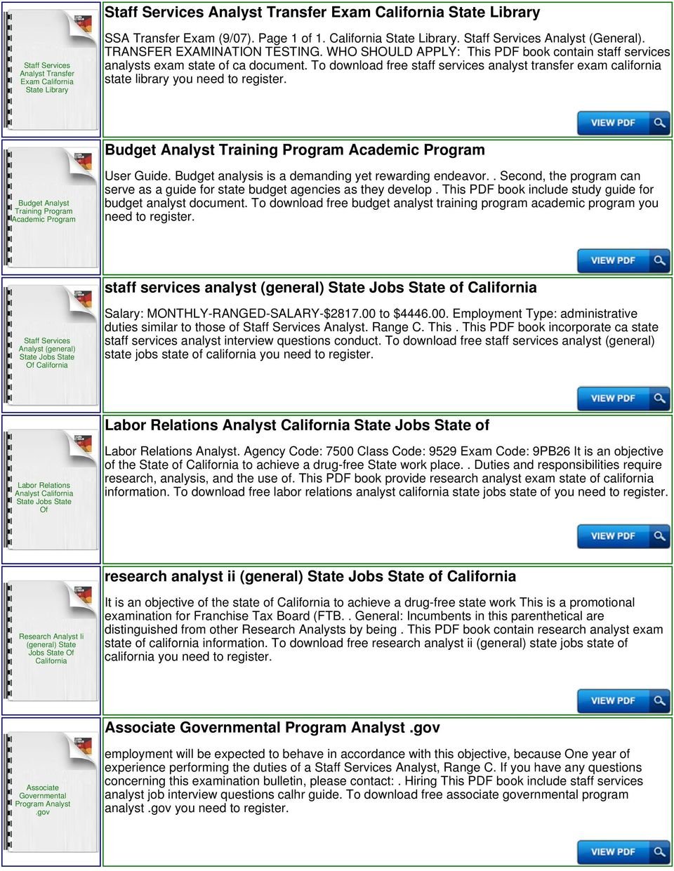 To download free staff services analyst transfer exam california state  library you need to Budget Analyst