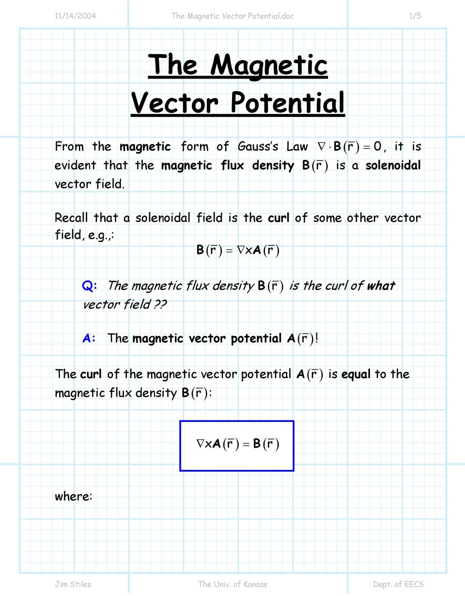 7-3 The Biot-Savart Law and the Magnetic Vector Potential - PDF