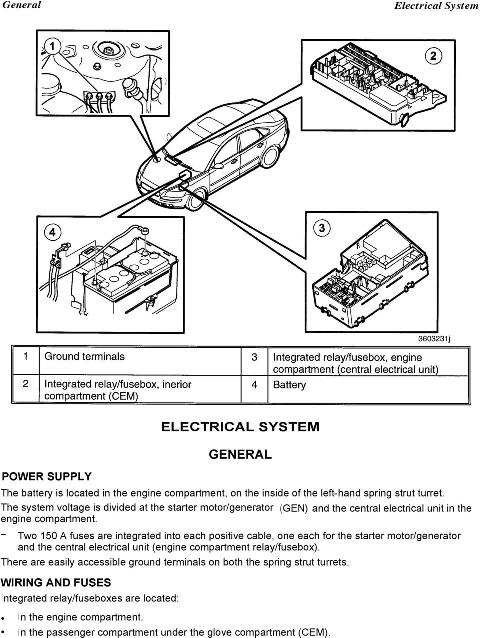 Electrical System General Pdf Relay Fuse Box Corolla Verso Two 150 A Fuses Are Integrated Into Each Positive Cable One For The