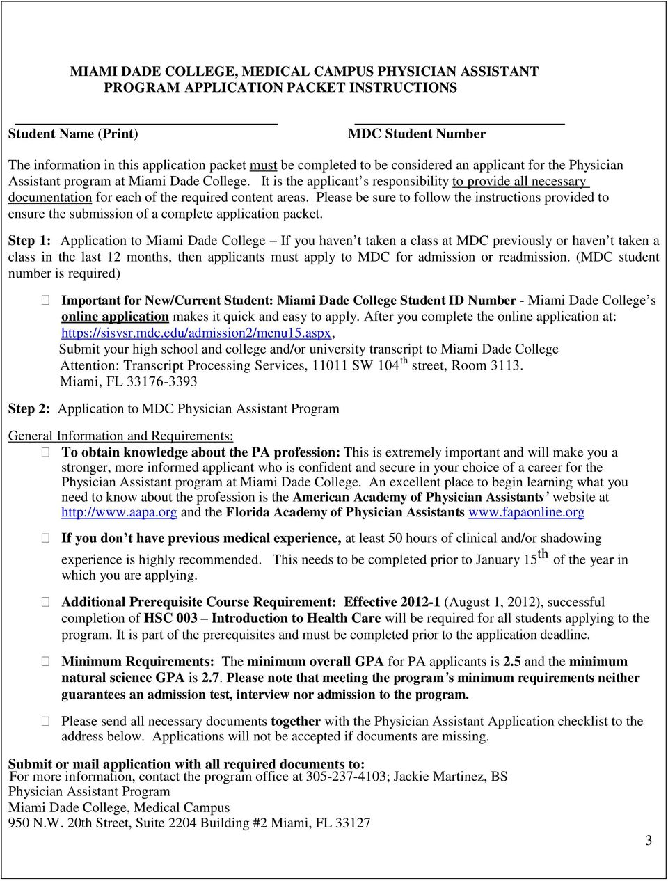 Miami Dade College Physician Assistant Program - PDF