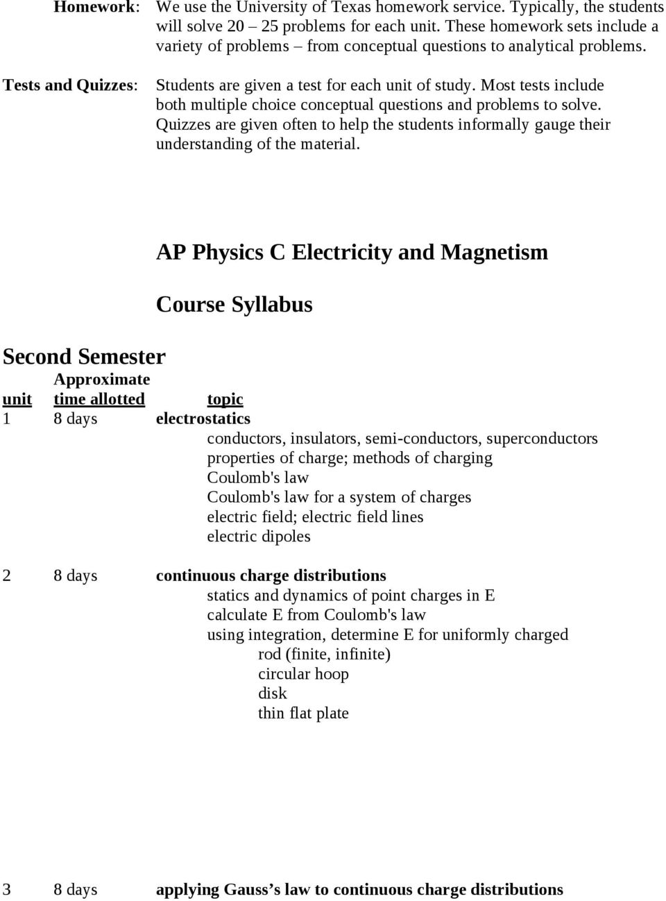 Course Syllabus: AP Physics C Electricity and Magnetism - PDF