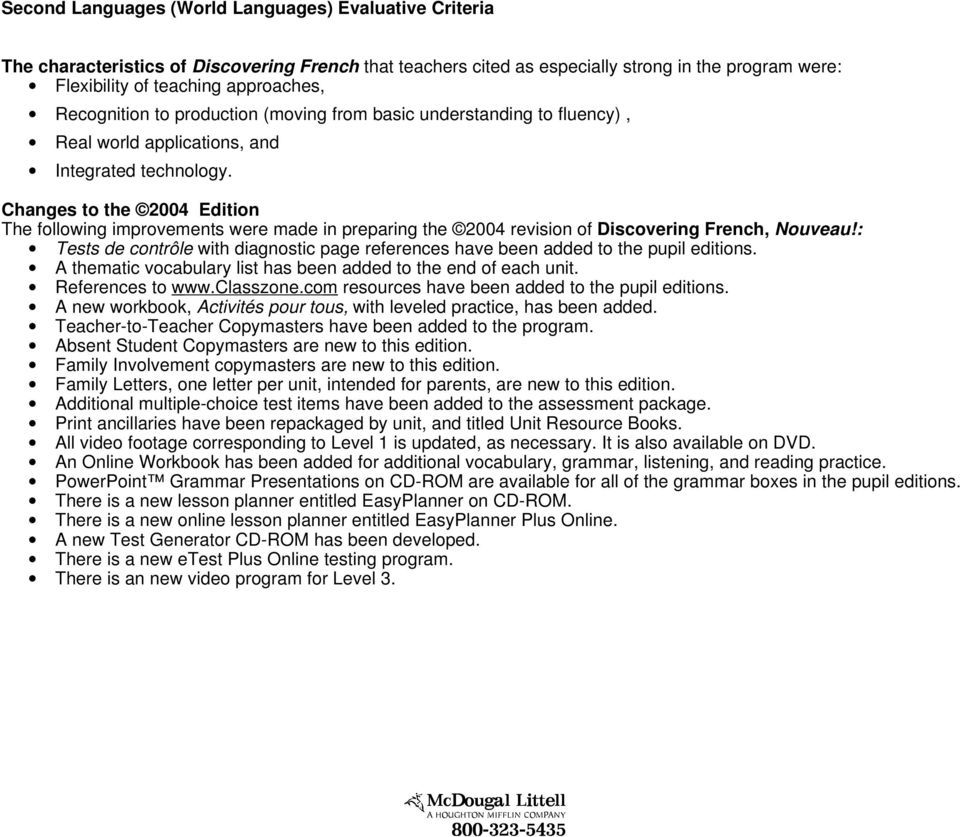 Oregon Brief for the McDougal Littell Discovering French