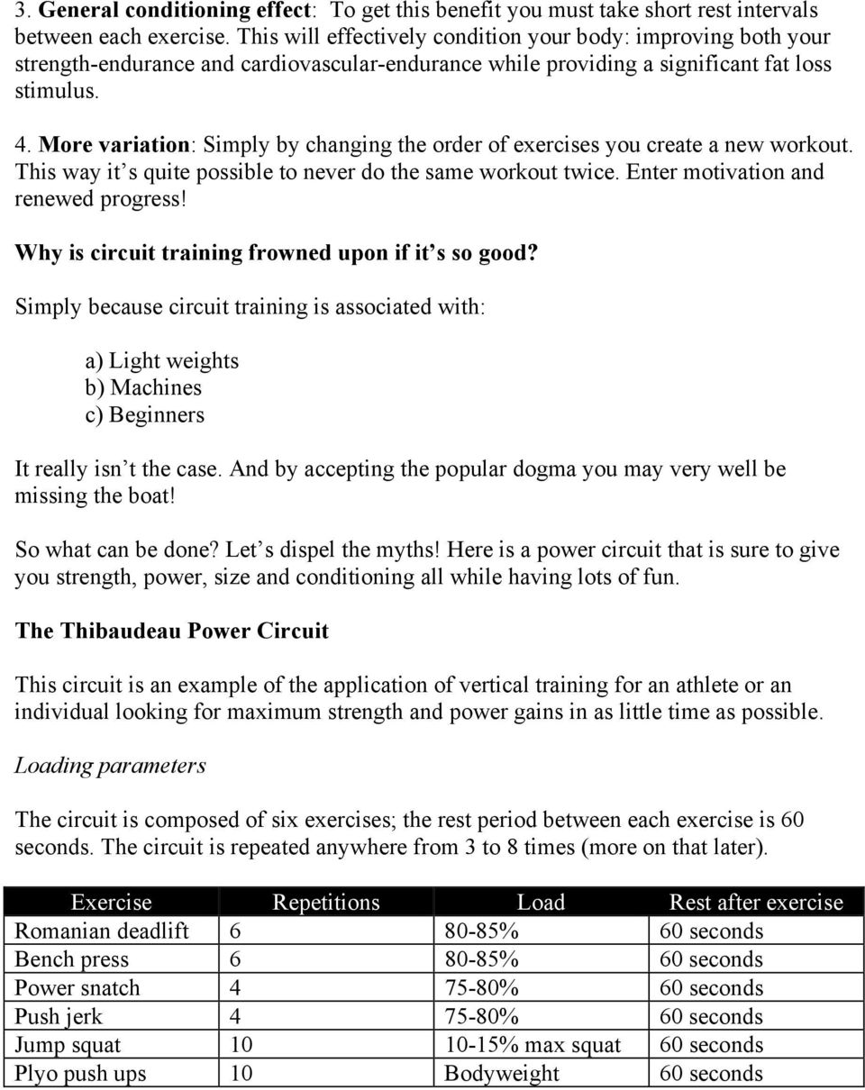 The Power Circuit Maximizing Strength And While Minimizing Bodyweight Be Your Change More Variation Simply By Changing Order Of Exercises You Create A New Workout