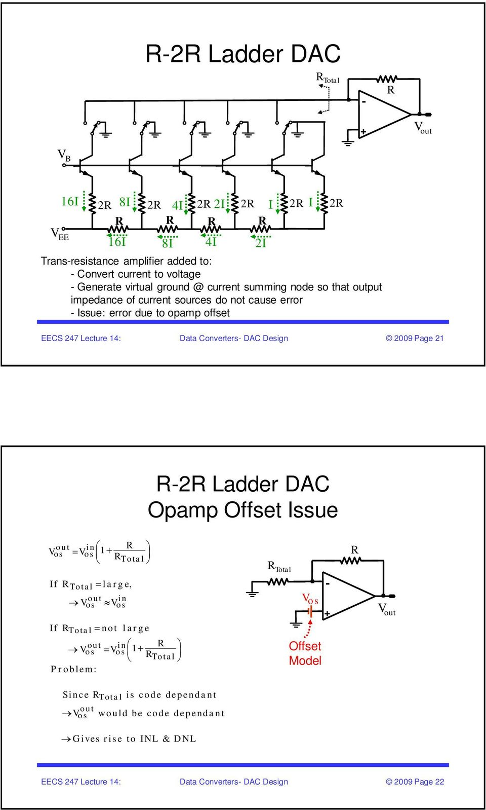 Ee247 Lecture 14 Eecs 247 Data Converters Dac Design Figure Sb1 Standard Ttl Inverter Circuit 9 Page 1 R Ladder Opamp Offset Issue Out In Os V