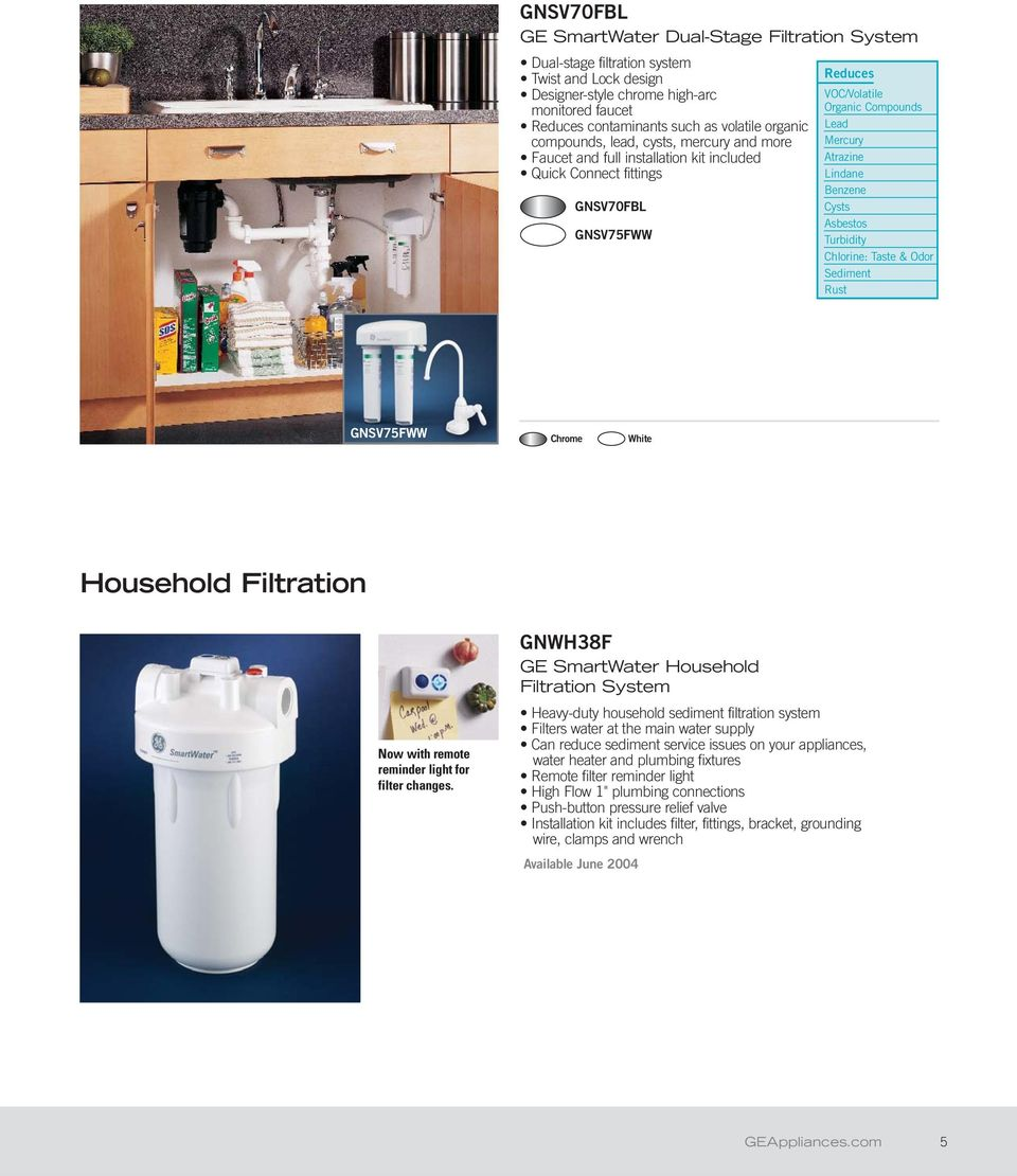 Ge Profile And Smartwater Filtration Systems For Clean Healthy Sink Faucet Water Supply Shutoff Valve Diagram Aaa Service Plumbing Benzene Cysts Asbestos Turbidity Chlorine Taste Odor Sediment Rust Gnsv75fww Chrome White Household