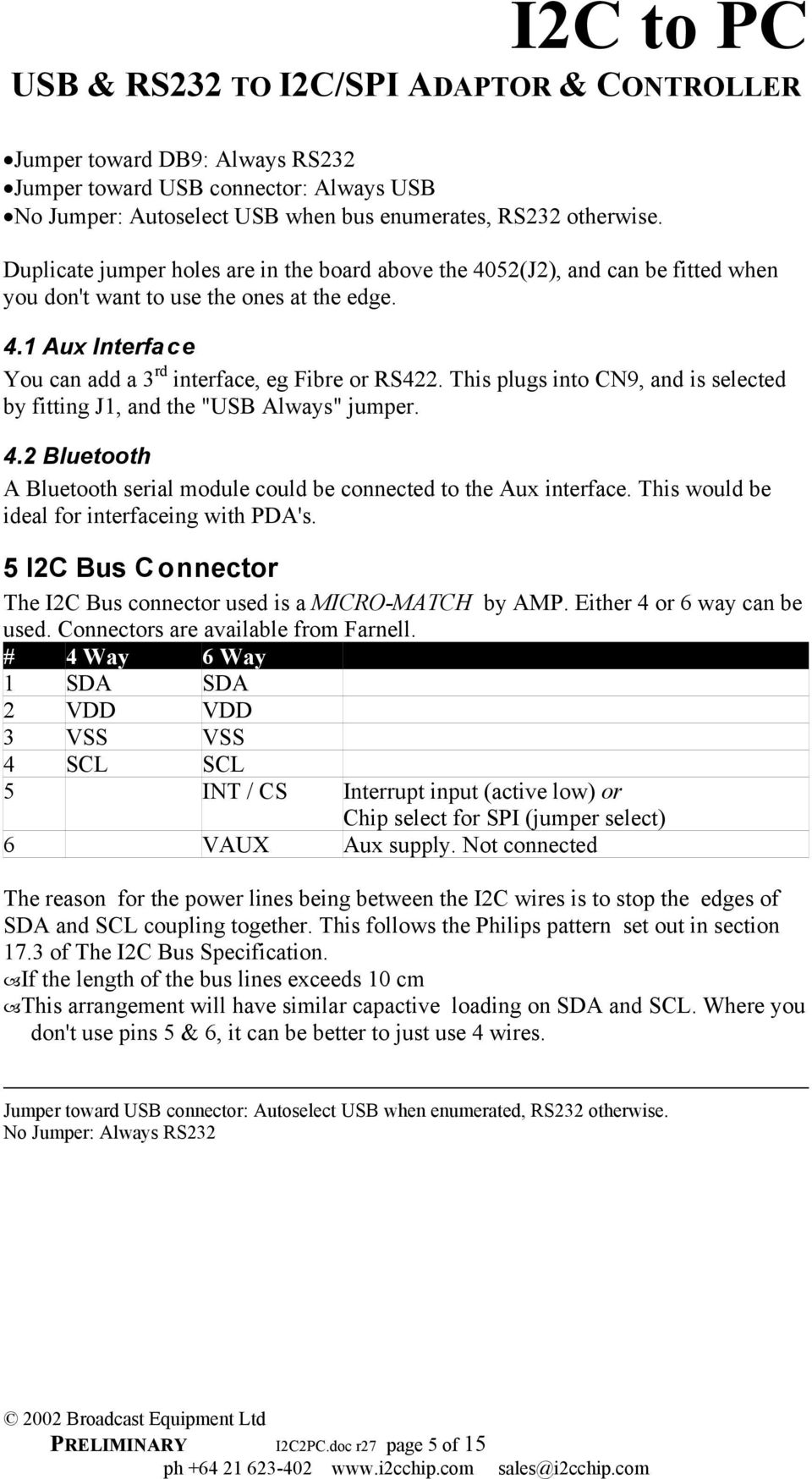 I2C to PC USB & RS232 TO I2C/SPI ADAPTOR & CONTROLLER - PDF