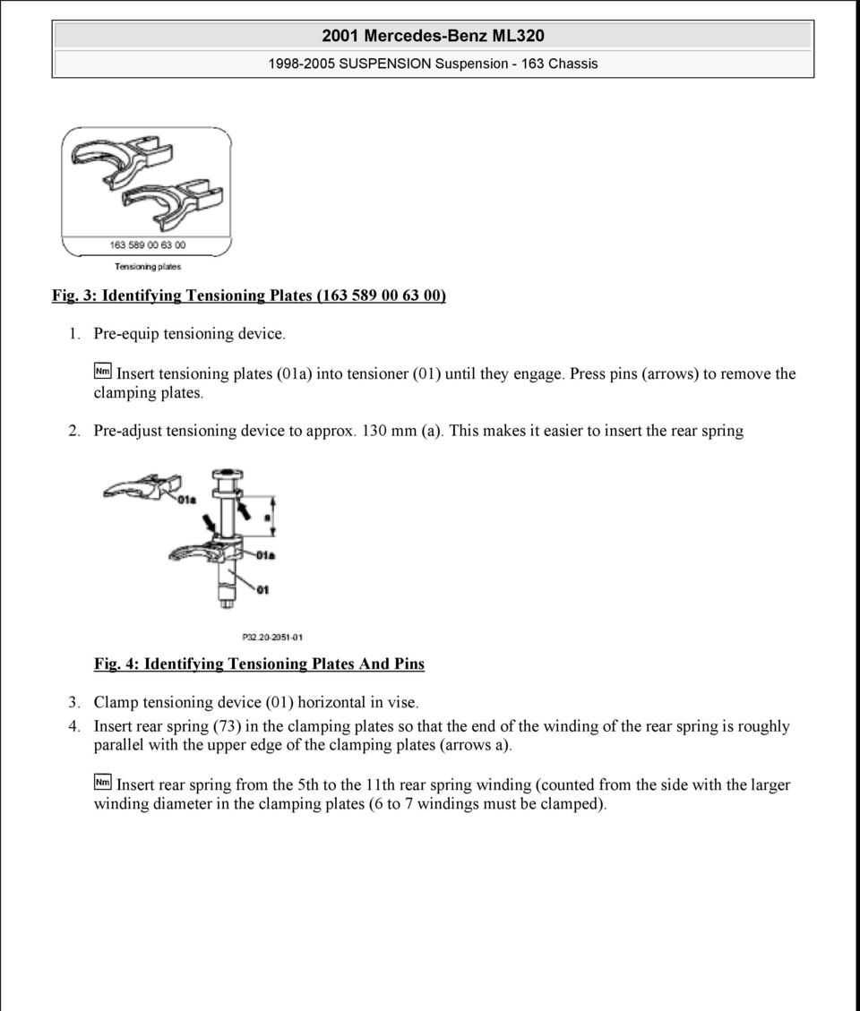 2001 Mercedes Benz Ml320 Pdf 01 Fuel Filter Location 4 Identifying Tensioning Plates And Pins 3 Clamp Device Horizontal