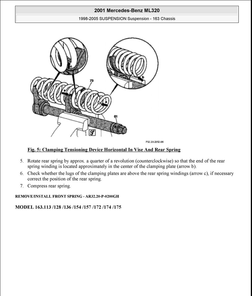 2001 Mercedes Benz Ml320 Pdf 01 Fuel Filter Location The Clamping Plate Arrow B 6