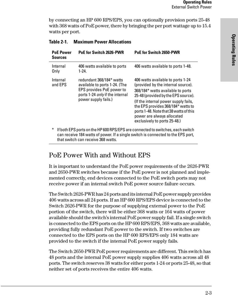 Hp Procurve Switch 2600 Series Poe Planning And Implementation Guide Poweroverethernet On Industrialbased Networking Fig 2 Operating Rules Internal Eps Redundant 368 184 Watts Available To Ports 1