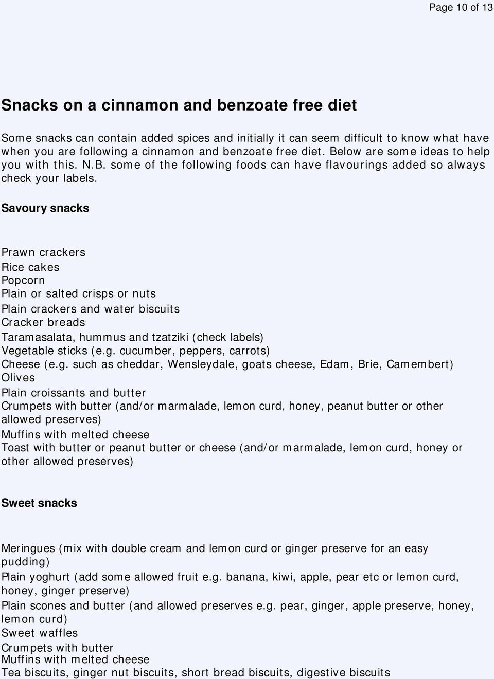cinnamon and benzoate free diet