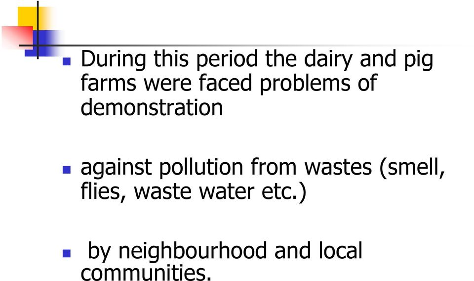 pollution from wastes (smell, flies, waste