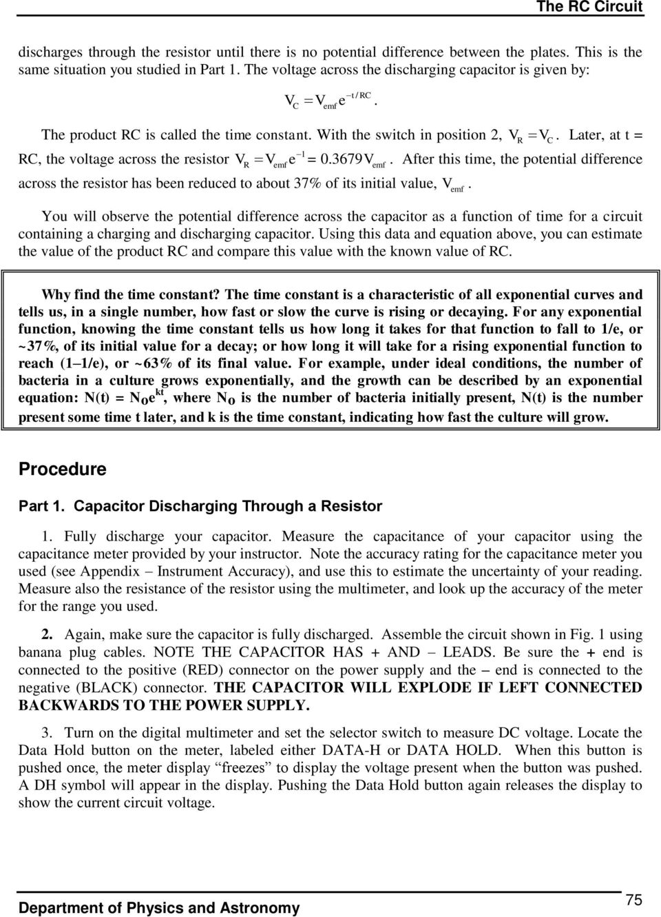 The Rc Circuit Pre Lab Questions Introduction Pdf Frequency Dependent Impedance Of An Series Later At T 1 Voltage Across Resistor Vr V E