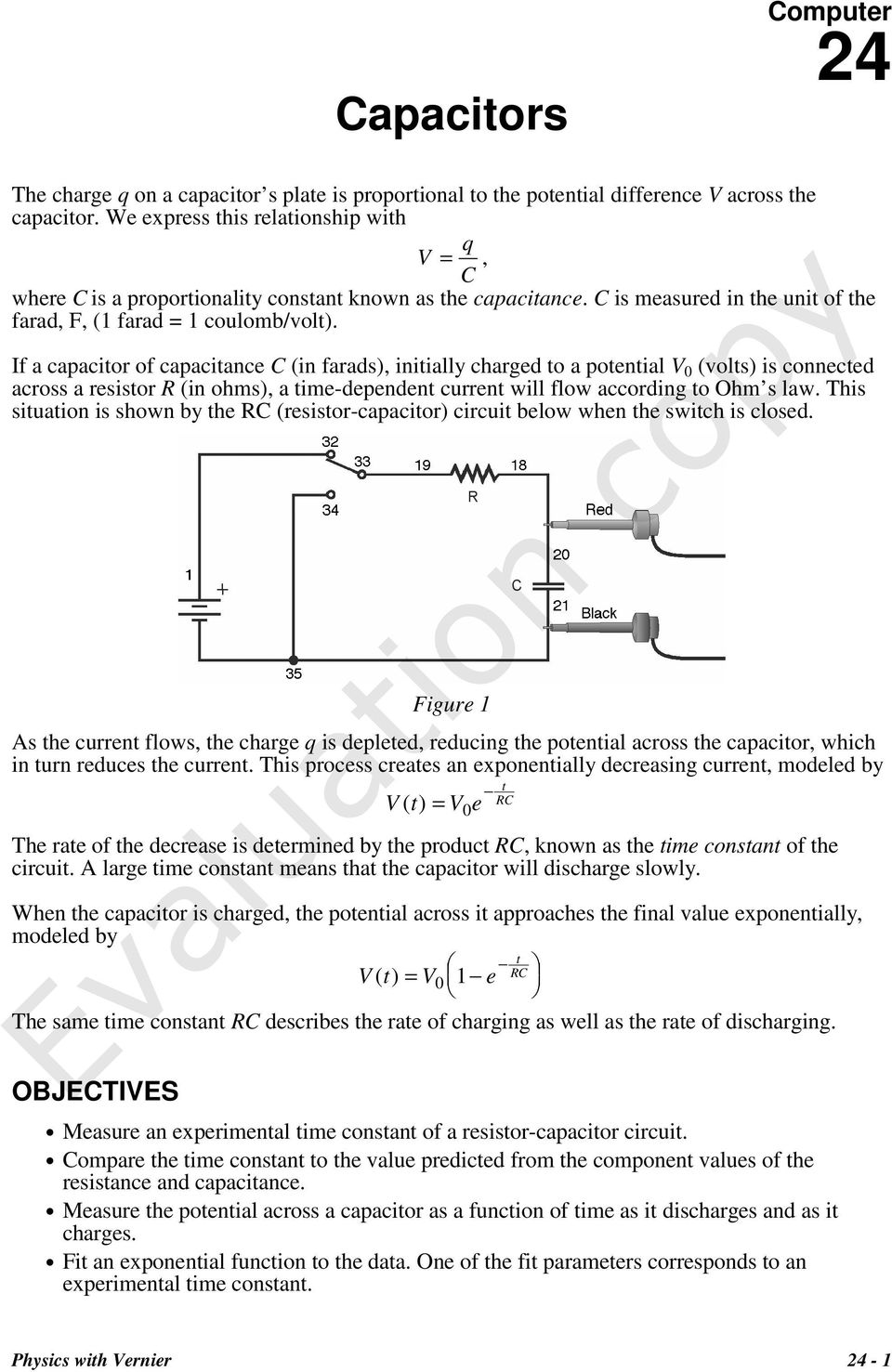 Capacitors Evaluation Copy Pdf The Circuit Below Along With Current Flowing And Potential If A Capacitor Of Capacitance C In Farads Initially Charged To