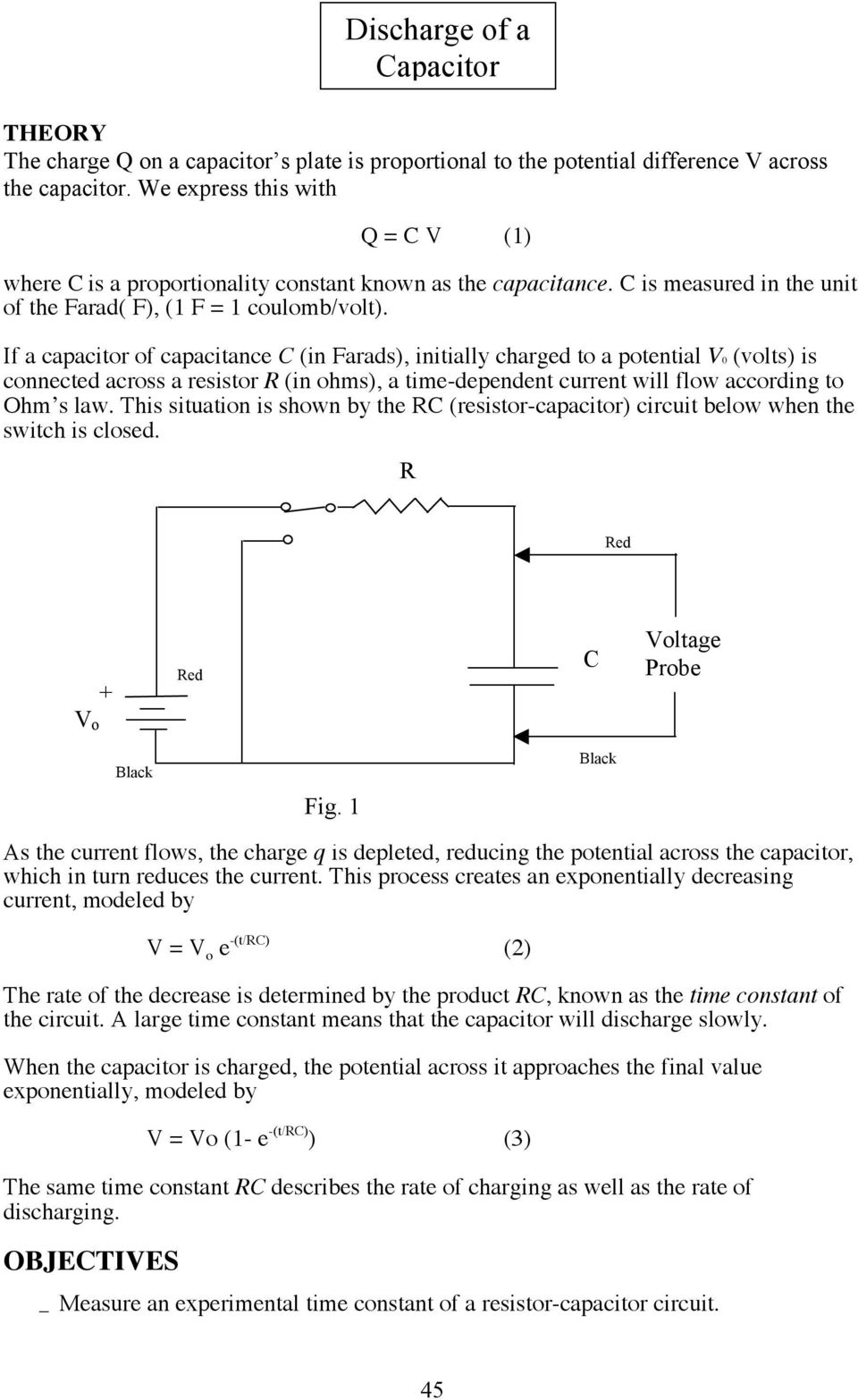 Discharge Of A Capacitor Pdf Capacitance Charging And Discharging If C In Farads Initially Charged To Potential