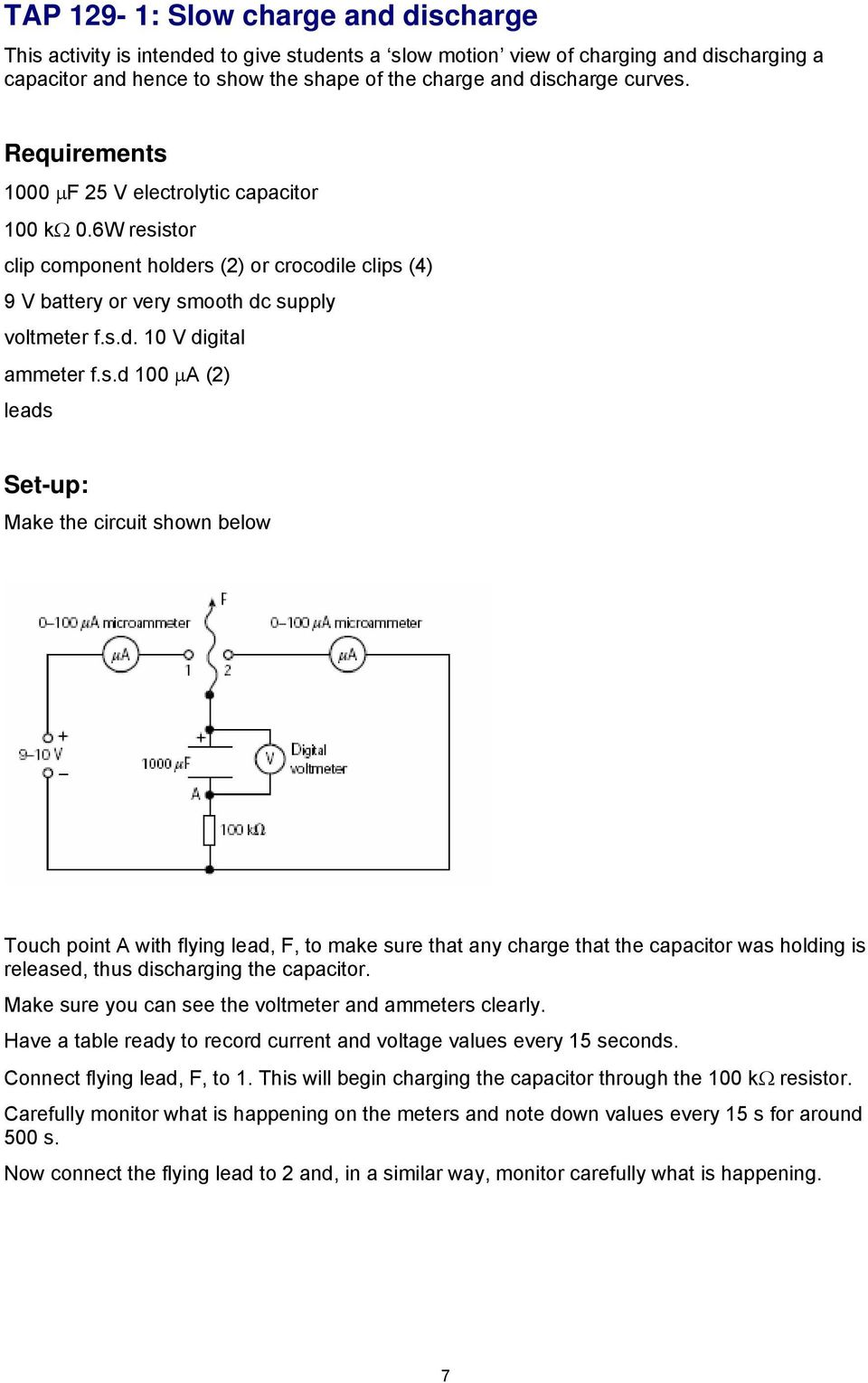 Episode 129 Discharge Of A Capacitor Q O E T Cr Pdf Discharging Circuit Sd 100 2 Leads Set Up Make The Shown Below