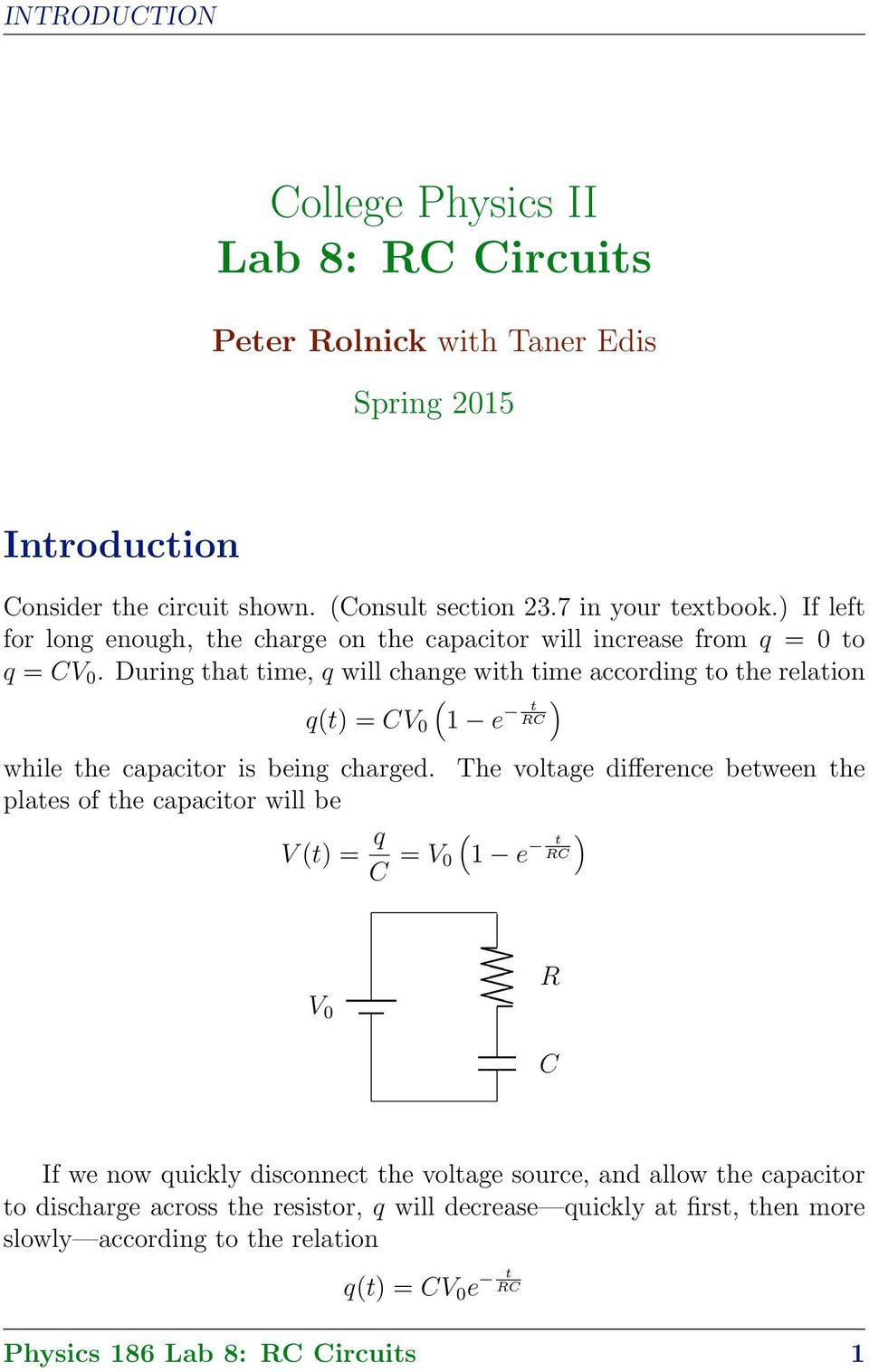 College Physics Ii Lab 8 Rc Circuits Pdf Impedance The Frequency Dependent Of An Series Circuit During That Time Q Will Change With According To Relation Qt