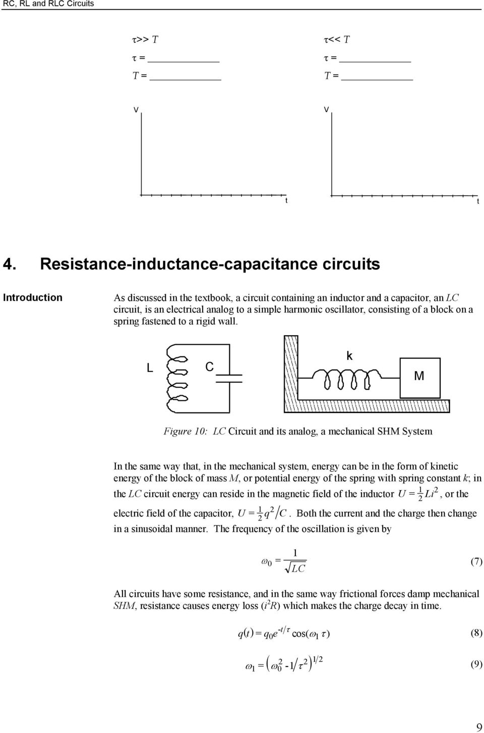 Rc Rl And Rlc Circuits Pdf Parallel Electrician Period 2 Consising Of A Block On Spring Fasened O Rigid Wall