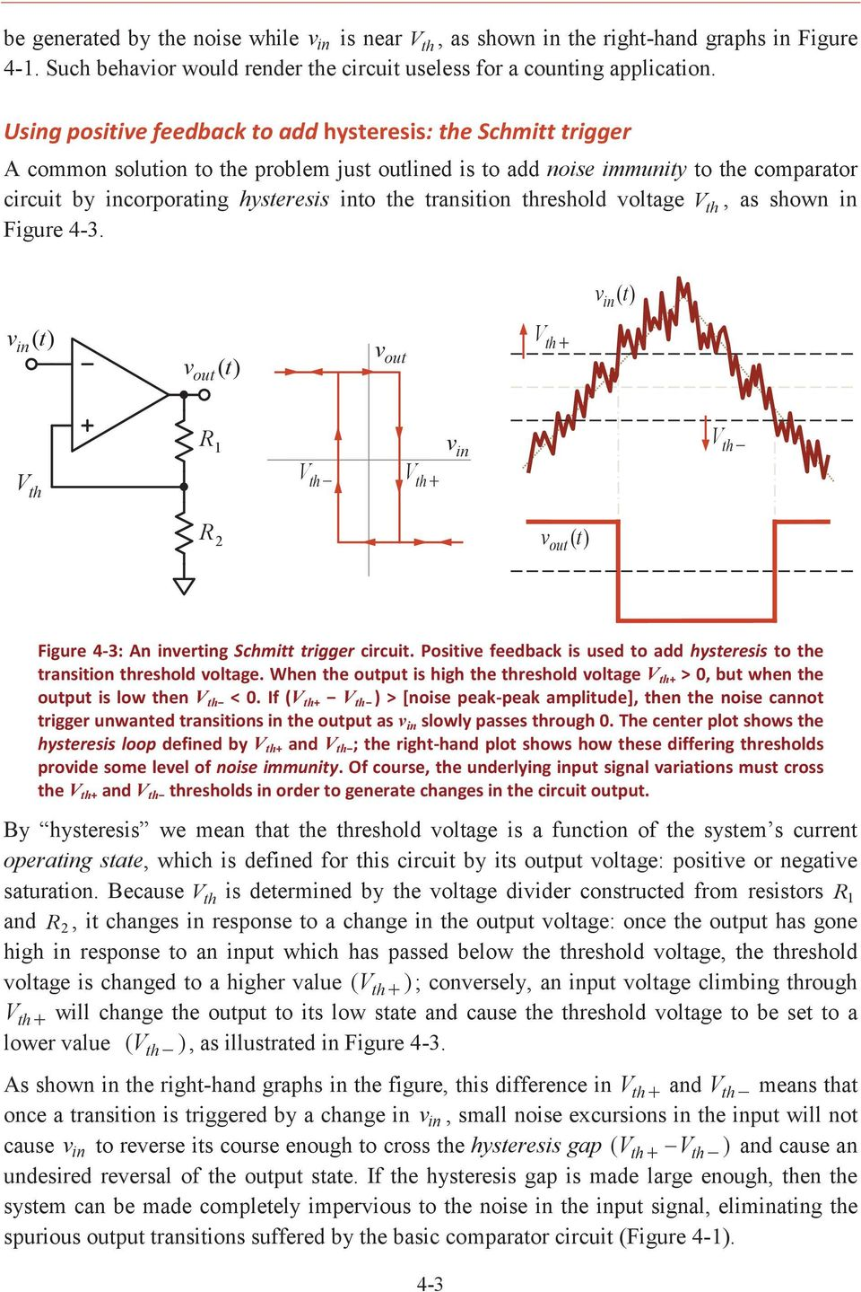 Comparators Positive Feedback And Relaxation Oscillators Pdf Schmitt Trigger Circuits Transition Threshold Voltage V Th As Shown In Figure 4 3 Vin