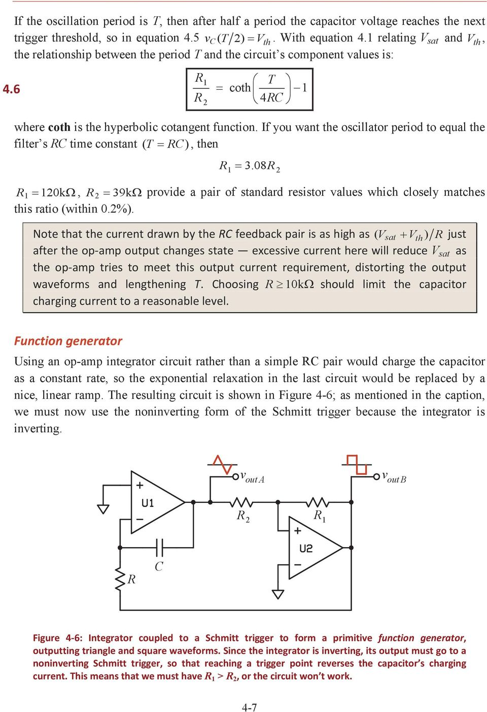 Comparators Positive Feedback And Relaxation Oscillators Pdf Voltagecontrolled Oscillator Circuit Signalprocessing If You Want The Period To Equal Filter S C Time Constant T