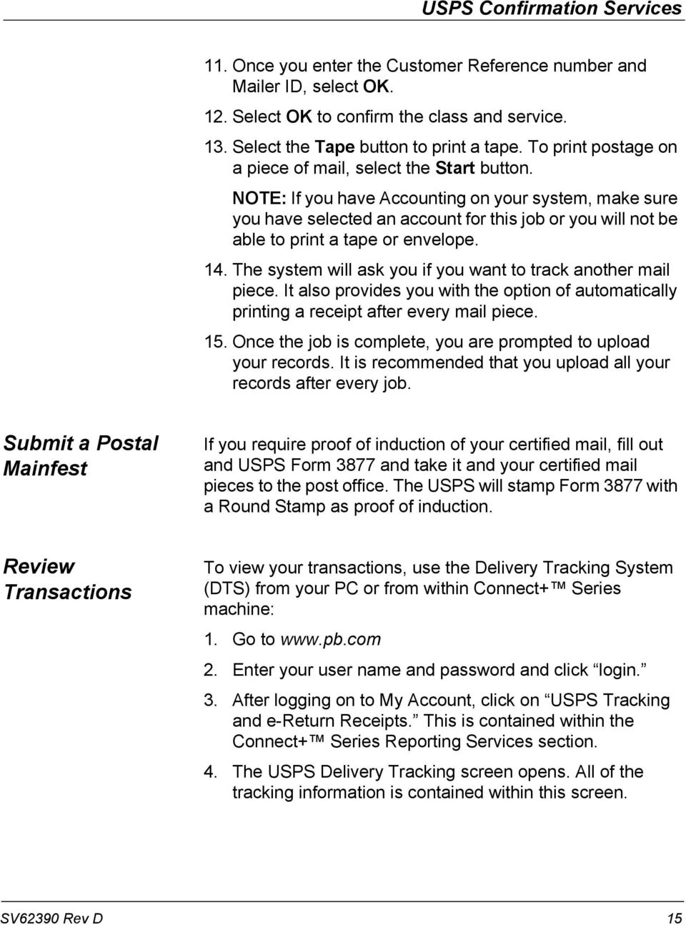 Operator Guide  Connect+ Series USPS Confirmation Services - PDF